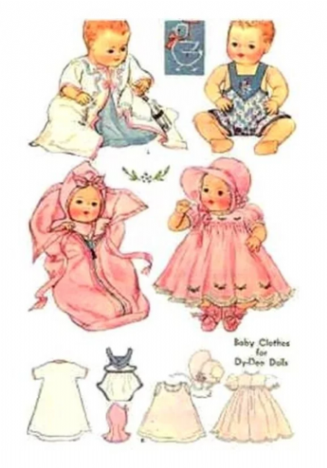 PDF Digital Download Vintage Sewing Pattern Doll Clothes 20'' Toddler & Baby Dolls Dydee Dy Dee